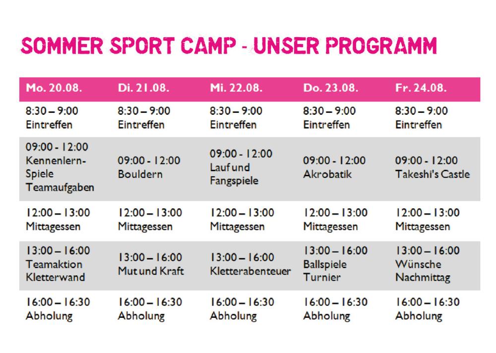Sommercamp Programm